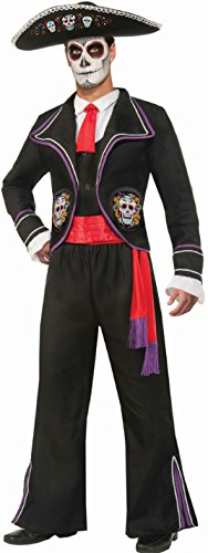 Forum Novelties Men's Day Of Dead Mariachi Macabre Costume, Black, Standard