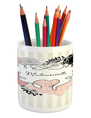Lunarable Vintage Modern Pencil Pen Holder, Stripes Background with Feminine Blooming Flowers and Leaves Mademoiselle, Printed Ceramic Pencil Pen Holder for Desk Office Accessory, Multicolor (Modern Leaf Stripe)