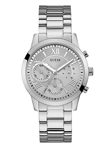 GUESS  Classic Stainless Steel Bracelet Watch with Day, Date + 24 Hour Military/Int'l Time. Color: Silver-Tone (Model: ()