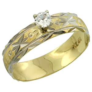 10k Gold Ladies' Solitaire 0.25 Carat White Sapphire Engagement Ring Diamond-cut Pattern Rhodium Accent, 3/16 in. (4.5mm) wide, size 5