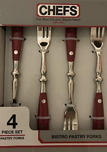 CHEFS BISTRO PASTRY FORKS RED HANDLE 4 PIECE SET