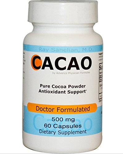 Poudre Supplément de cacao, cacao, excellents antioxydants, 500 mg, 60 capsules