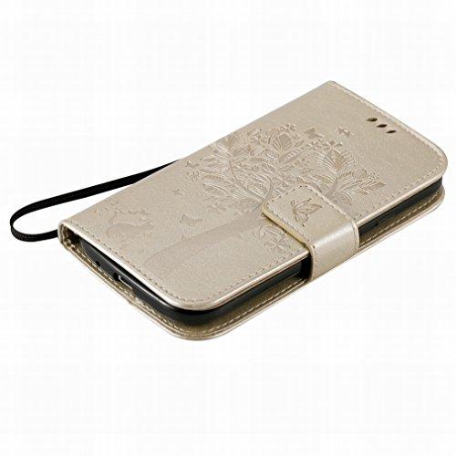 Custodia Samsung Galaxy Grand Neo Plus (i9060) Cover Case, Ougger Alberi Gatto Printing Portafoglio PU Pelle Magnetico Stand Morbido Silicone Flip Bumper Protettivo Gomma Shell Borsa Custodie con Slot