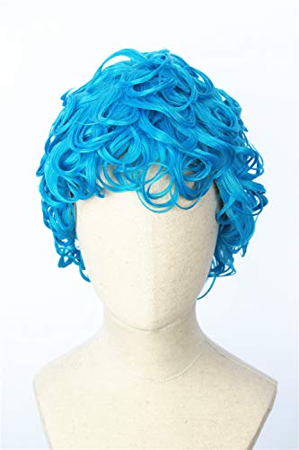 Cosplaywigscom: Short Blue Curly JOJO 's Bizarre Adventure Halloween Cosplay Wigs