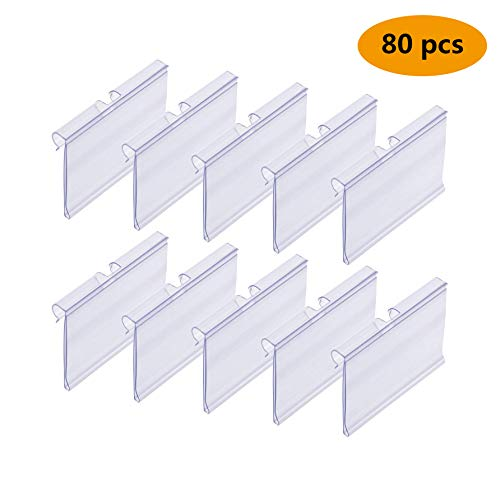 (Plastic Price Label Holder Wire Retail Price Tag Label Holder Merchandise Sign Display Holder 4.3x6cm 80 pcs)