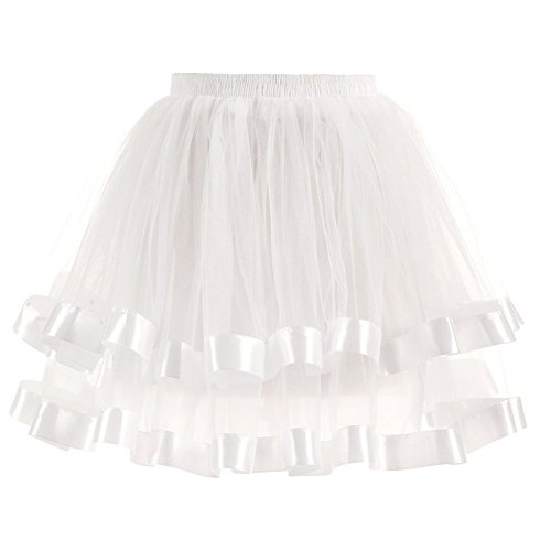 Dannifore White Women's Dresses 2 Layers Tulle Hoopless