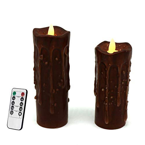 Dipped Decor - CVHOMEDECO. Real Wax Hand Dipped Battery Operated LED Pillar Candles with Remote Control, Primitives Country Flickering Dancing Flame Lights Décor, 6