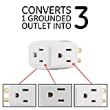 GE 3 Plug, Wall Tap, Adapter, Grounded Outlet, Access Design, Indoor Use Only, Ul Listed, White, 58368