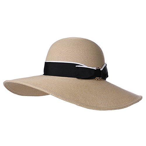 Women Floppy Wide Brim Straw Sun Hat Summer UPF Ladies Beach Accessories Fashions Hats Packable Beige SiggiHat ()