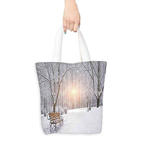Woodland Nylon Parka - Winter Tote Snow Covered Leafless Trees and Benches in the City Park Sunset Woodland Outdoors Eco-Friendly 16.5