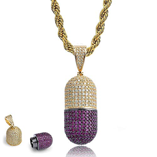 - HenryDong Stainless Diamond Capsule Necklace for Ashes, Sand, Perfume Holder Container, Pet/Cat/Dog Memorial Urn Shinning Punk Jewelry, Cremation Vehicle-Mounted Couples Pendant Keepsake(Men, Women)