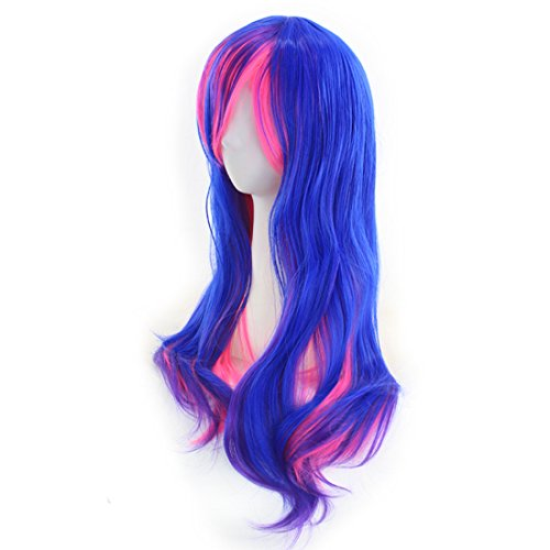 "Price comparison product image JX Roco Wigs (70cm) / 28"" Women's Hair Wig + Free Wig Cap / Hairpieces Fashion Hairstyle Long Big Wavy Spiral Lolita Wig for Cosplay / Halloween Party Costume Daily Use Heat Resistant(Blue+red)"