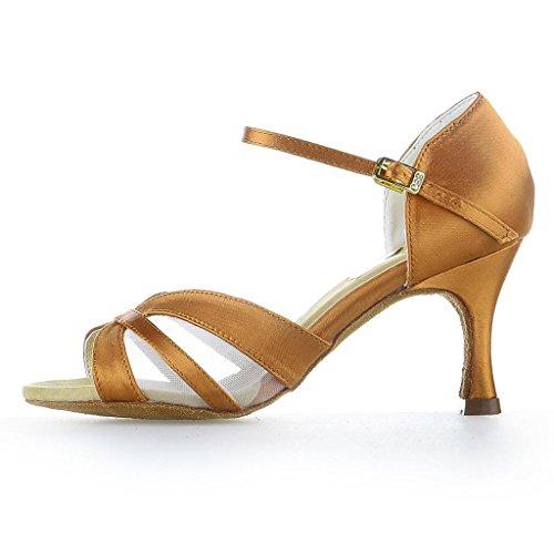 Jia Jia 2056 Damen Sandalen Ausgestelltes Heel Super-Satin mit Nylon-Netzgewebe Latein Tanzschuhe