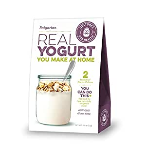 Cultures For Health Bulgarian Yogurt Starter | Re-use Heirloom Yogurt Culture Without Loss In Nutrients | Non GMO, Gluten Free | Makes Thick, Mildly Tart Bulgarian Yogurt | 2 Sachets In A Box