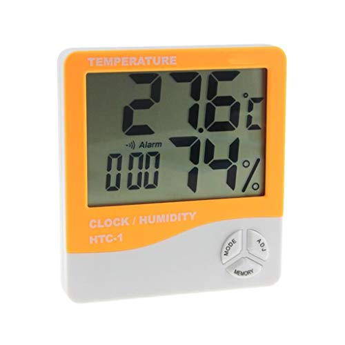 (TMY Household Temperature Humidity Meter LCD Indoor High Precision Multi-Function Digital Display Weather Monitoring Clocks (Color : Orange, Size : 10cm))
