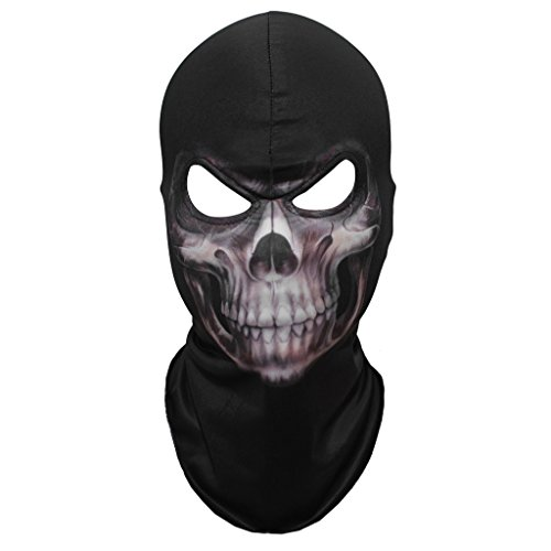 JIUSY Lycra Skeleton Skull Balaclavas Ghost Masks Headwear Cosply Costume Halloween Party Ski Full Face Mask (Ghost Ski Mask)