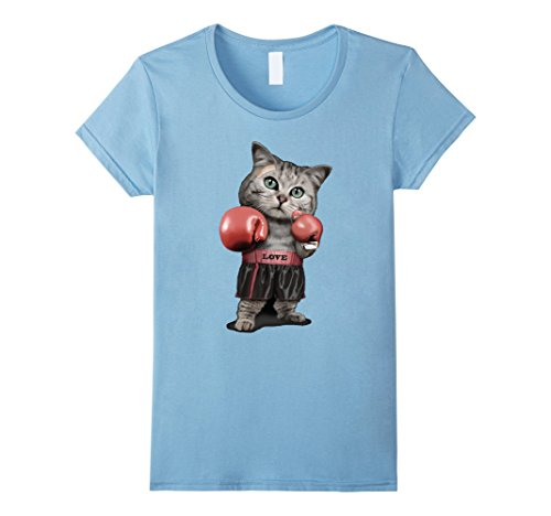 Women's Put'em Up Boxer Cat Tee Large Baby Blue