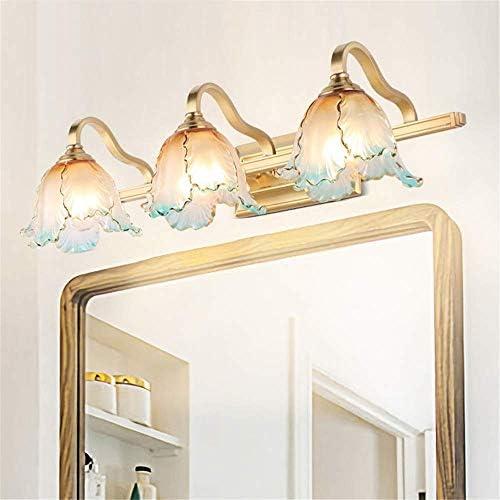 HIZLJJ ウォールライトアートグラスフィクスチャ防水アンチフォグ銅ウォールランプ浴室用ミラーベッドルームミラーヘッドライト現代の照明器具バスルームの照明オーバー