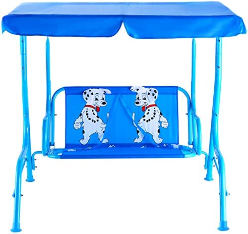 HONEY JOY Kids Patio Swing, 2-Seater Outdoor Porch Swing Lounge Chair W Canopy Safety Belt, All Weather Resistant Waterproof Hanging Swing Bench for Patio Garden Poolside Balcony Blue Puppy
