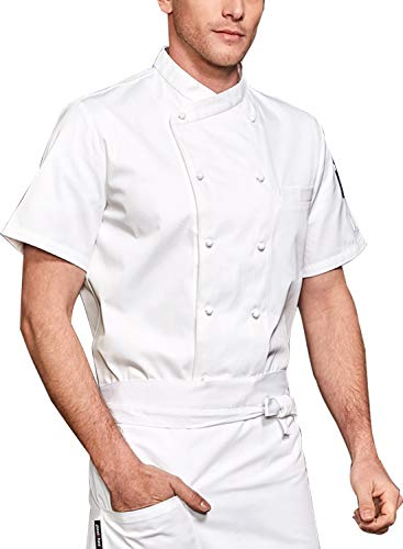 BOUPIUN Men's Chef Coat Short/Long Sleeve Waiter Chef Uniform Hotel Kitchen Restaurant Chefwear Jacket