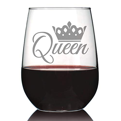 Queen - Cute Funny Stemless Wine Glass, Large 17 Ounces, Etched Sayings, Gift Box