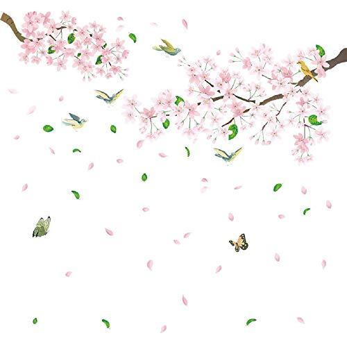 Amaonm Removable DIY Pink Peach blossom Flowers With Tree Branches Wall Decal 3D Home Wall art Decor Birds Floral Wall Stickers for Living Room Kids Bedroom Girls Nursery Baby Playroom Decorations ()