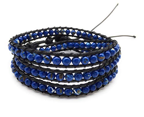xinpeng Handmade Alloy Leather Natural Stone Bead Statement Bracelet Bangle Cuff Rope 3 Wrap Adjustable Jewelry Collection (Lapis Lazuli & Black Leather Cord)
