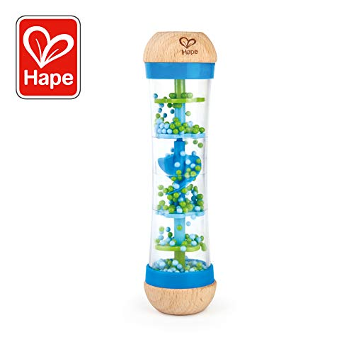Hape Beaded Raindrops | Mini Wooden Musical Shake & Rattle Rainmaker Toy, Blue