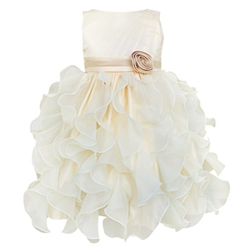 (iEFiEL Flower Girl Pageant Ruffle Tulle Bow Formal Party Wedding Dress Champagne)
