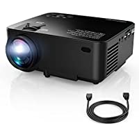 Upgraded DBPOWER T20 LCD Mini Projector with 10% Brighter Projection, Multimedia Home Theater Video Projector with HDMI Cable, Supports 1080p, HDMI, USB, SD Card, VGA/AV/TV, Laptops, Games, Smartphone