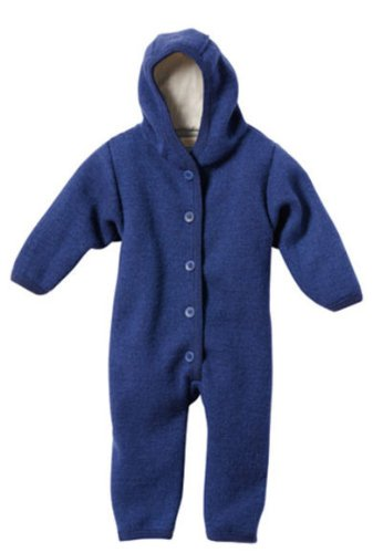 Disana Baby Boys' Organic Boiled Wool Snugglesuit Overall Pramsuit 86/92 12-24M Marine by Disana (Image #1)