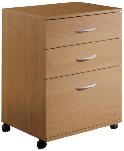 3-Drawer Mobile Filing Cabinet 5092 from Nexera, Natural Maple