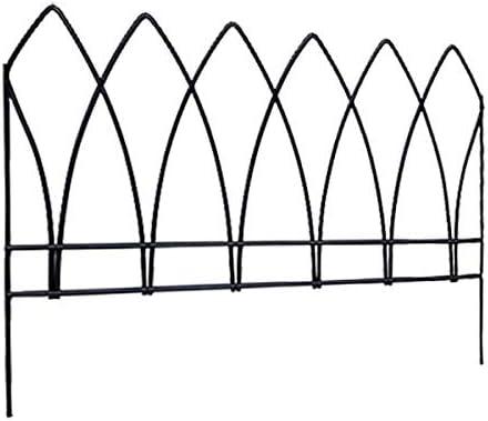 BestNest Panacea 89523 Gothic Arch Border Fence, Black, 15 H, Pack of 12