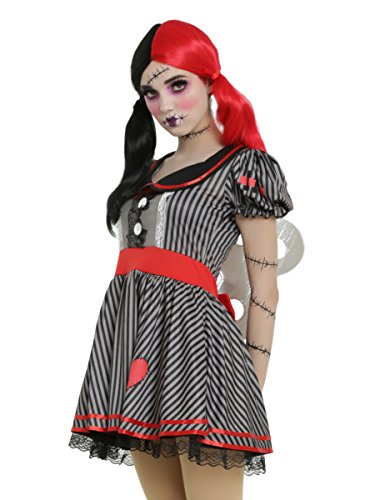 [Black & Grey Striped Wind-Up Doll Costume] (Wind Up Doll Costume Hot Topic)