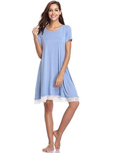 camicia Chiaro Girocollo Pigiama Da cielo vestito blu Casual Blu Cotone Grigio Estivo Manica Aibrou Donna Nero grigio Donna Notte xl S Gonna Corta rosa gSwIFP
