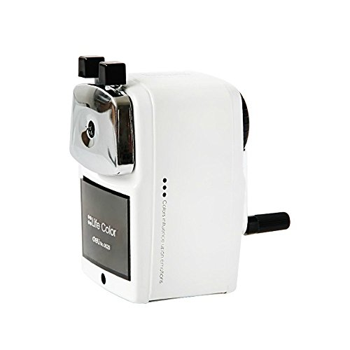 InnoDesktop Heavy Duty Jumbo Size Manual Rotary Pencil Sharpener, Steel Shell, Best Pencil Sharpener, Great for Kids, Classroom and Office (White)