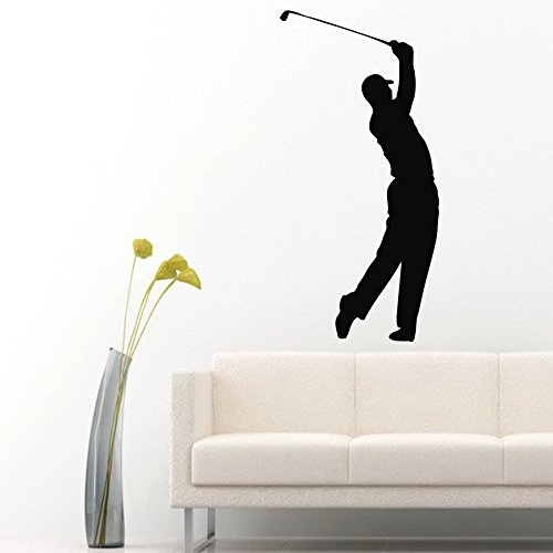 Housewares Wall Vinyl Decal Man Golf Player Sportsman Sport People Gym Interior Home Art Decor Kids Nursery Removable Stylish Sticker Mural Unique Design for Any Room