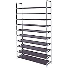 SONGMICS 10 Tiers Shoe Rack 50 Pairs Non-woven Fabric Shoe Tower Storage Organizer Cabinet Dark Brown 39 3/8