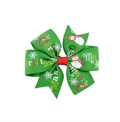 - Polymer Fashion Hair Decorations 8x8CM Boutique Hair Clips Christmas Theme Hairpins Baby Girl Decorations (Green Snowman)