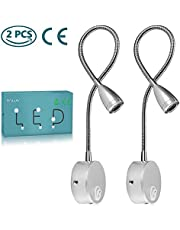 Lámpara de lectura,luz de pared LED de 2 piezas,luz de noche con recubrimiento de aluminio y con cable blanco cálido,200 LM/3000K/3W,ángulo del haz:30°,longitud del brazo:38 cm