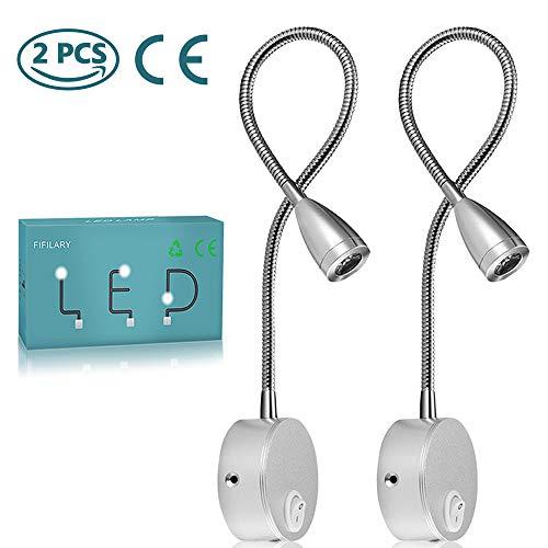Lámpara de lectura,luz de pared LED de 2 piezas,luz de noche con recubrimiento de aluminio y con cable blanco cálido,200…