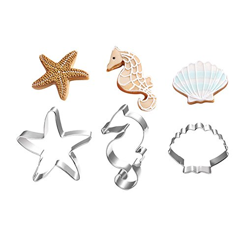 XYBAGS Under The Sea Cookie Cutters, Ocean Themed Shapes, Stainless Steel Starfish, Seashell, Seahorse Cookie Cutter, 3 - Cutters Personalized Cookie