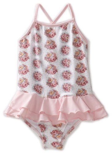 Planet Sea Little Girls'   One Piece Suit Ruffle Skirt, Pink/Roses, 2T
