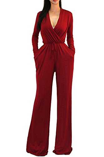 Vivicastle Women's Sexy Wrap Top Wide Leg Long Sleeve Cocktail Knit Jumpsuit (Large, Burgundy) -