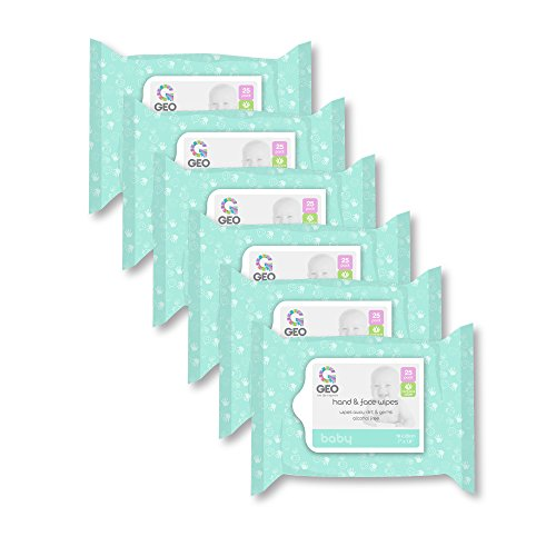 Baby Hand and Face Wipes | for Baby Hands and Faces | Enriched with Aloe Vera | Moisturizing | Unscented | Alcohol Free | 7 Inches x 7.8 Inches | 6 Packs of 25 Wipes (150 Count)