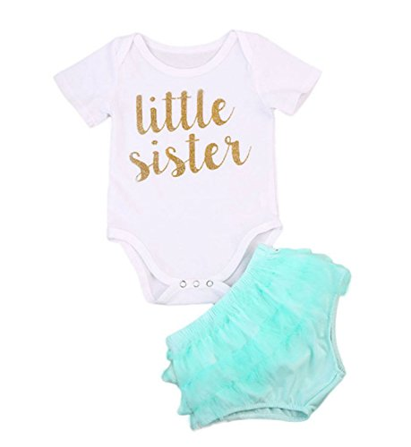 Rush Dance Boutique Newborn Lil Little Sister OR Big Sister Outfit Dress Sets (70 (0-3 Months), Little Sister - White Top & Aqua Chiffon Bloomer) -