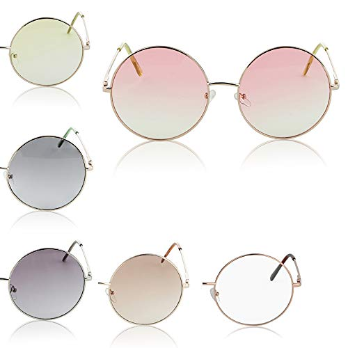 Super Oversized Round Sunglasses Hippie Retro Tinted Lens Circle Glasses UV400 (6 pack) -