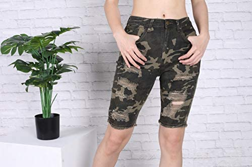 Meilidress Womens Distressed Bermuda Shorts Casual Camo Ripped Raw Hem Stretchy Jeans
