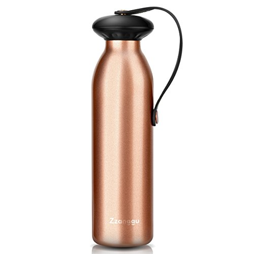 Designer Vacuum Carafes (Zzanggu Insulated Water Bottle Vacuum Flask Travel Bottle Double Wall Stainless Steel BPA-Free No Sweating Keep Cold Portable for Sport Gym, 17oz(500ml) Gold)