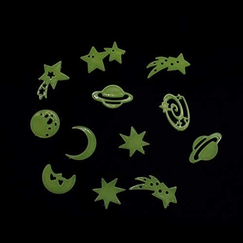 BAROZN Stanza dei Bambini Fai da Te Decalcomanie della 1 Confezione Autoadesivo Fluorescente Parete Stelle Luna Home Decor Luminosi Spazio Pianeti Wall Stickers Boys Adesivi murali
